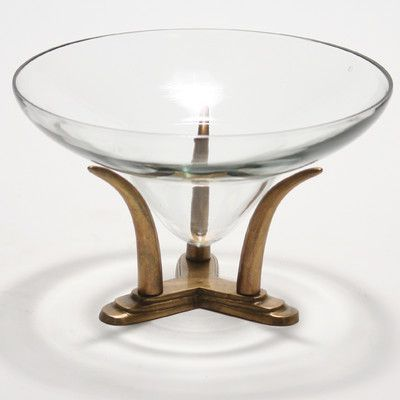 "Distinctive Designs Decor Accessories Lead Decorative Bowl with an Tusk Base Size: 6"" H x 10"" W"