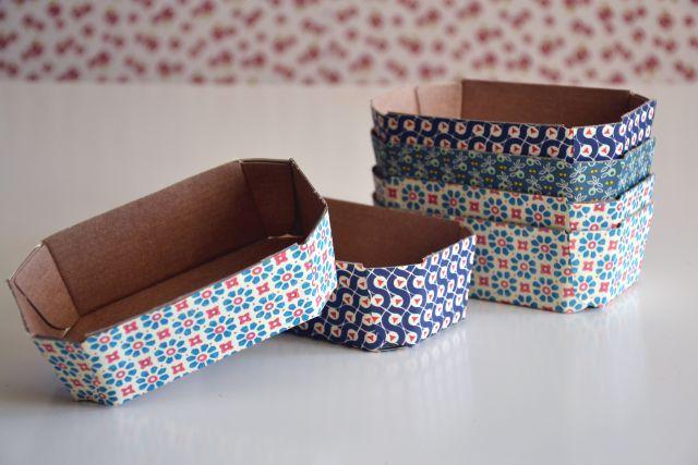 Gemüseschalen aus Pappe schön mit Papier bezogen