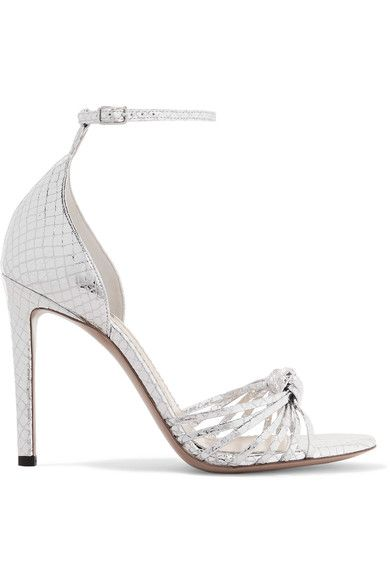 Altuzarra - Parker Snake-effect Mirrored-leather Sandals - Silver - IT37.5