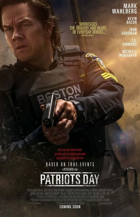 Patriots Day is a 2016 American thriller film about the 2013 Boston Marathon bombing and the subsequent terrorist manhunt. Directed by Peter Berg and written by Berg, Matt Cook and Joshua Zetumer, the film is based on the book Boston Strong by Casey Sherman and Dave Wedge. It stars Mark Wahlberg, J. K. Simmons, John Goodman, Kevin Bacon and Michelle Monaghan. Plot: On April 15, 2013, brothers Dzhokhar and Tamerlan Tsarnaev detonate two bombs during the Boston Marathon, causing widespread…