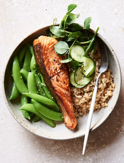 Image result for baked salmon, roast veggies and brown rice