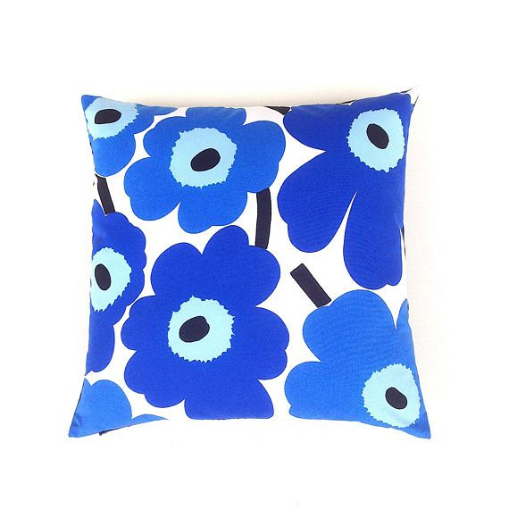 Marimekko Blue Cushion Cover. Shades of Blue. Scandinavian