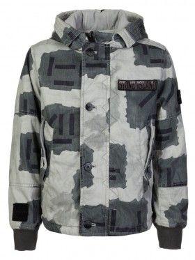 Stone Island Junior Grey Camouflage Wax Jacket