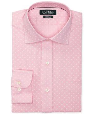 Lauren Ralph Lauren Men's Classic/Regular Fit Non-Iron Mini Paisley Print Carmel Pink Dress Shirt - Carmel Pink 16.5 32/33