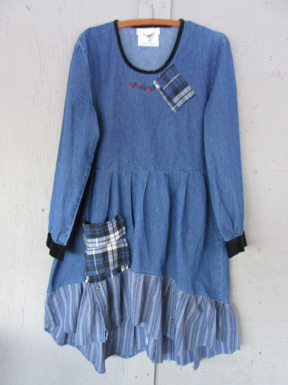 long sleeve denim upcycled dress Bohemian by lillienoradrygoods