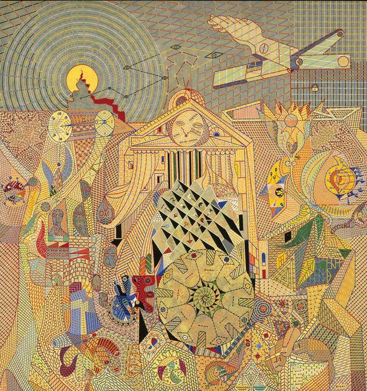 Alfred Pellan Sujet d'ambassade 1950 Huile, détrempe (?), pâte à modeler et résine sur panneau 165 x 157 cm