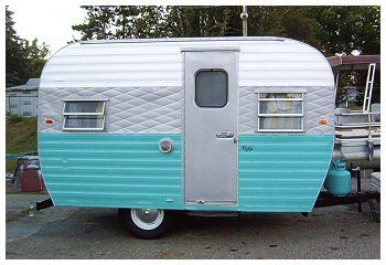 Vintage Blue Camper.  I LOVE this.  Don't know if I could do it, but I could sure decorate it and look good driving it around! hehe!
