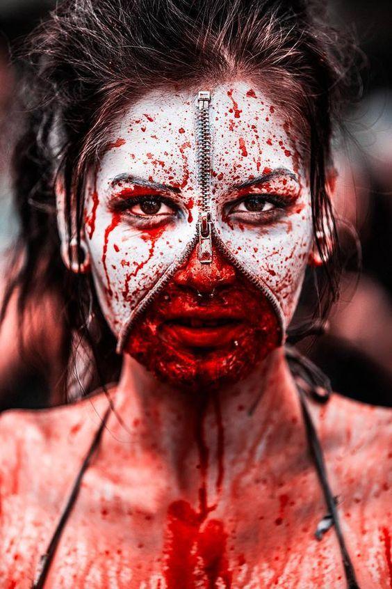 awesome unzipped zipper halloween makeup ideas - Zombie Halloween Faces