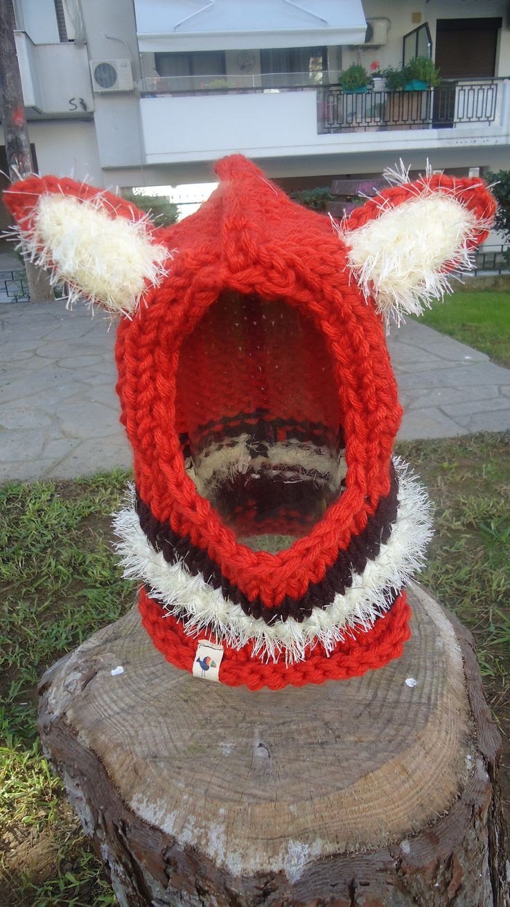 handmade knitted fox hoodie hat beanie made to order facebook/toucanbeanies