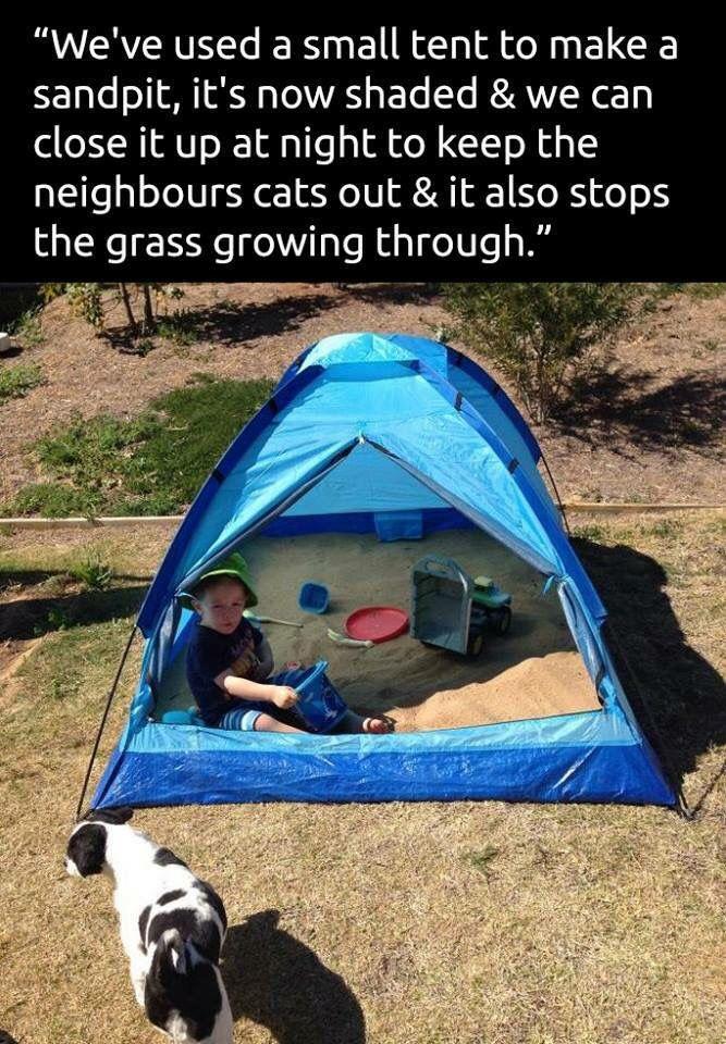 Backyard sand pit in a small tent. Brilliant idea                                                                                                                                                                                 More