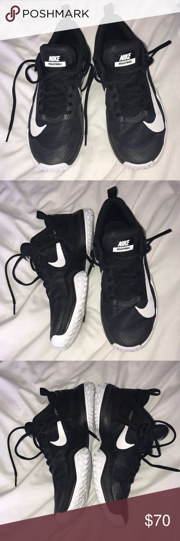 Black Nike volleyball shoes size 10 Black Nike volleyball shoes size 10 women's, newest edition. Worn less than 5 times. Comment if interested! Nike Shoes Sneakers