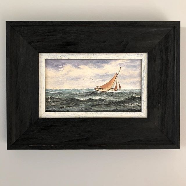 - At Full Sail - $450  This 1908 Oil Painting by the listed Australian Marine artist Frederick Dawsoncaptures the drama and beauty of a clipper at full sail.  Dawson was active 1890-1925 and lived in both Adelaide and Sydney during his working artist life.  The painting has been professionally re-framed in a textured dark wooden frame with a lightly distressed white border.  Signed Dawson (Frederick Dawson) & dated lower right.  38.5cm wide 28.5cm high   To BUY this piece HIT THE LINK IN…