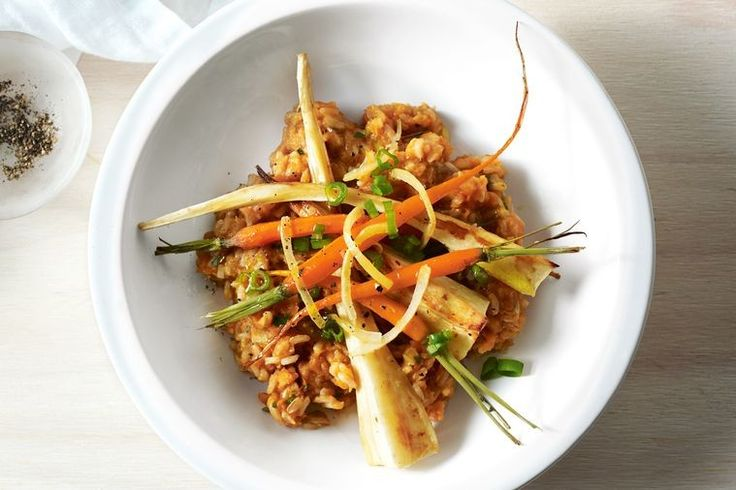 Jill Dupleix creates this cheat's risotto made over with brown rice and roasted sweet potato, topped with roasted root vegetables and tangy slivers of preserved lemon.