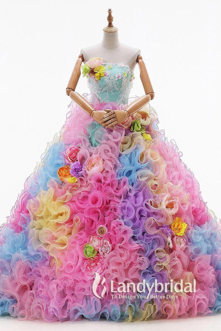 カラードレス グリーン プリンセスライン 多色のフリル 取り外し可能なリボン JUL015009