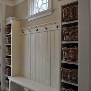 FGH Architects - laundry/mud rooms - camel, walls, white, built-ins, flanking, white, built-in, bench, beadboard, walls, schoolhouse, pendant, mudroom, mudroom design, mudroom cabinets, mudroom storage, mudroom bench, mudroom cubbies, mudroom pin boards, mudroom cork boards, mudroom hooks, mudroom baskets, mudroom storage baskets, mudroom paneling, mudroom panels,