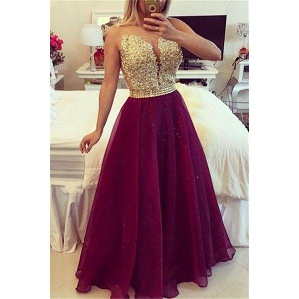 Sweetheart Burgundy Chiffon Long Prom Dress Popular Plus Size Formal... ❤ liked on Polyvore featuring dresses, long chiffon dress, women's plus size dresses, formal dresses, plus size prom dresses and purple formal dresses