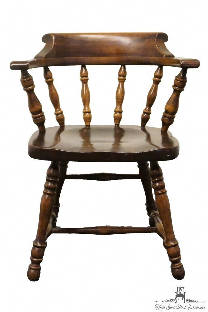 High End Used Furniture | ETHAN ALLEN Antiqued Pine Old Tavern Mate's Chair  12-6001 - High End Used Furniture ETHAN ALLEN Antiqued Pine Old Tavern