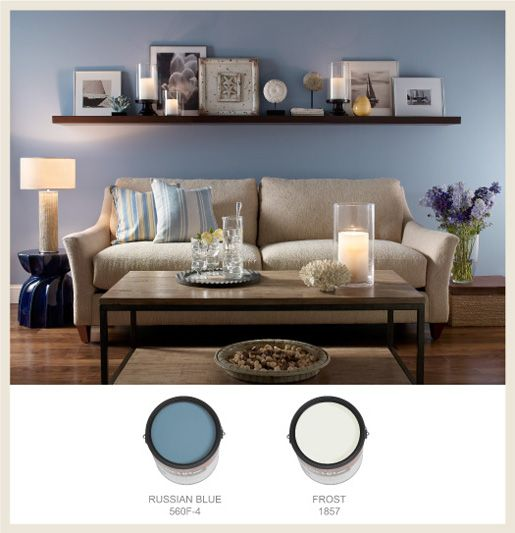 Casual living blue cans border living room shelves above Over the sofa wall decor ideas