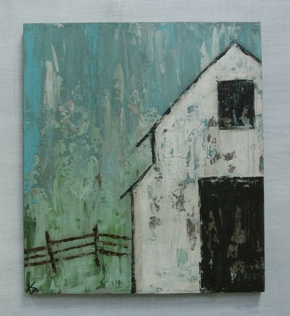 """White Barn Original Painting on Wood. Titled: """"Easy Like Sunday Morning"""" 16 by 18 Inches"""