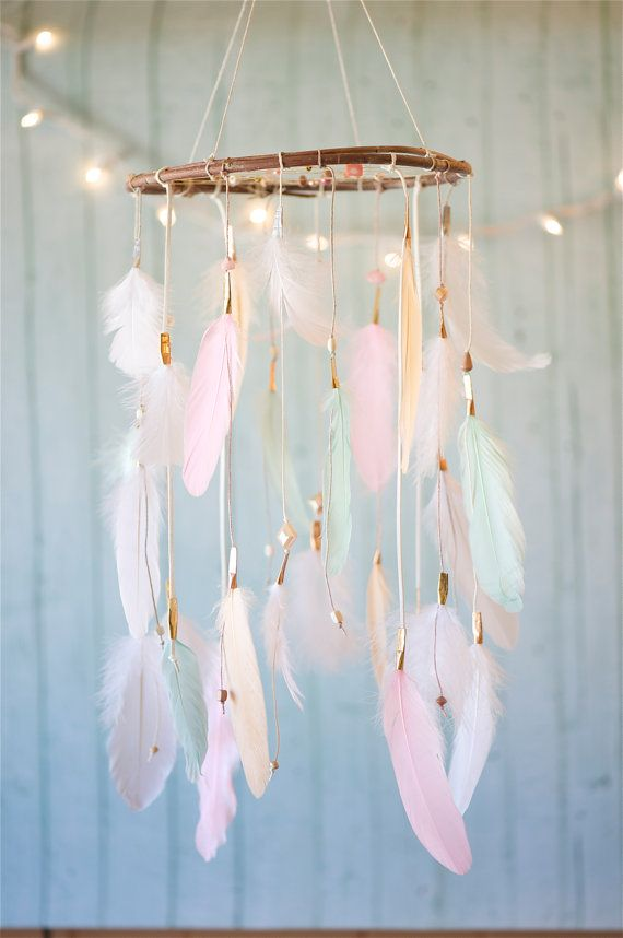Dreamcatcher Mobile Peach Pink and Mint by DreamkeepersLLC on Etsy