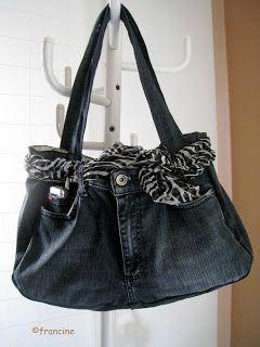"""Le sac à main taillé dans un jean""""recylé"""" ( et son tuto )"""