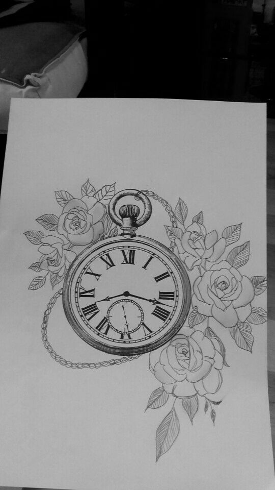 dessin montre a gousset fleurs roses tatouage clock. Black Bedroom Furniture Sets. Home Design Ideas