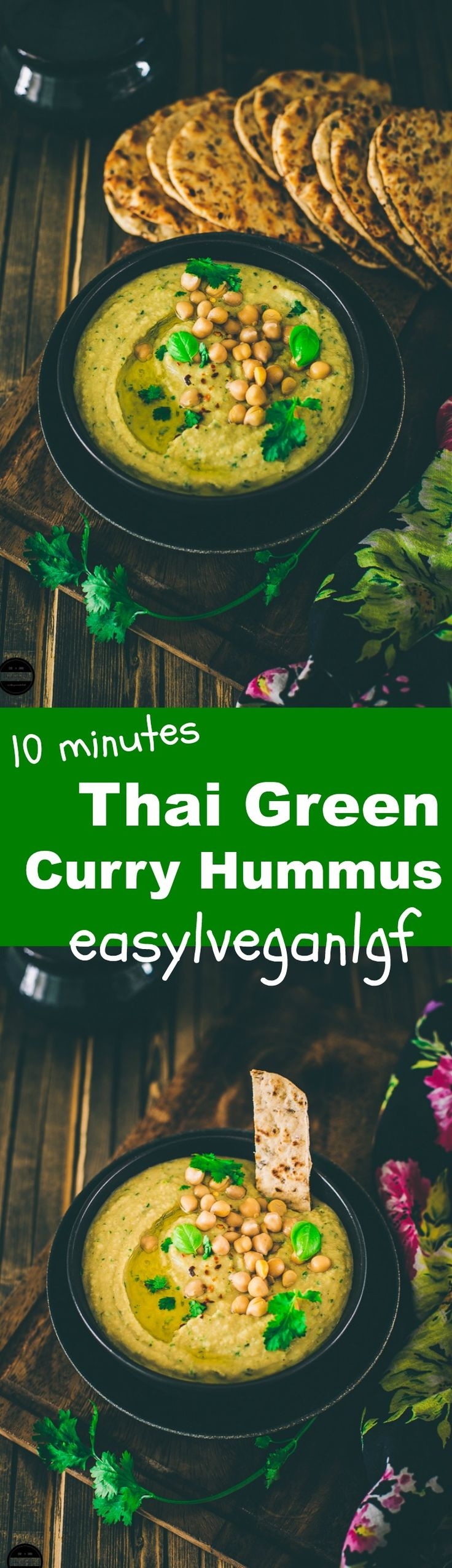 Thai green curry hummus under 1o minutes, It is vegan and gluten free.
