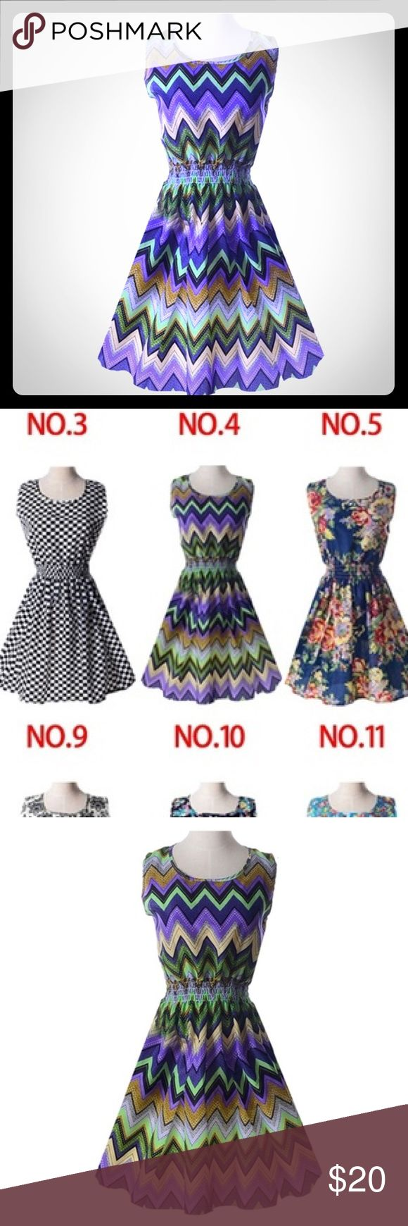 """flirty chevron print dress Flowy scoop neck dress with elasticized waist. Silky, thin material. Labeled size large, but runs small. Please note; when laid flat, measures 17"""" from armpit to armpit and about 33"""" from shoulder to hem. BRAND NEW in original packaging. 🚫NO TRADES dongxing Dresses"""