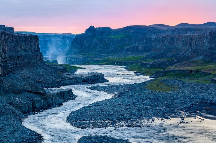 A most spectacular scene as the Jökulsá á Fjöllum river cuts its way through the rugged landscape downstream from the incredible Dettifoss Waterfall in  the Vatnajökulla National Park in Northeast Iceland.