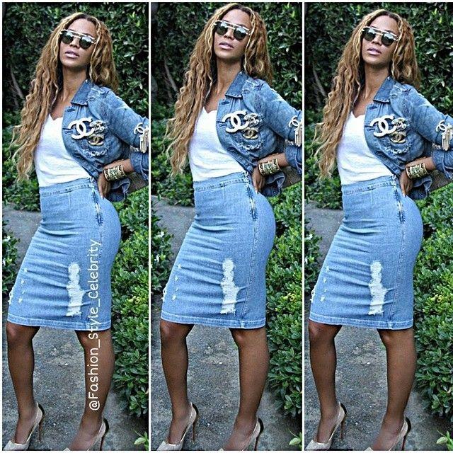 #beyonce #jayz #blueivy #blue #mrscarter #worldtour #doubledenim #divorce #skirt #fashionshow #fashion #style #leather #prints #celebrity #look #lookbook #beautiful #gorgeous #trend #trendy #chic #ootd #outfit #instafashion #instastyle #stylish #accessories #heels #shoes... - Celebrity Fashion