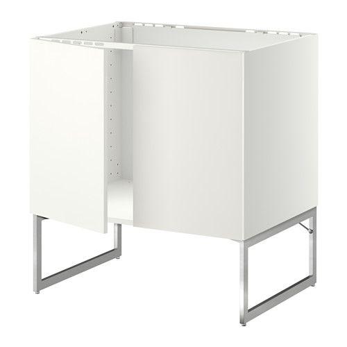 IKEA - METOD, Unterschrank für Spüle + 2 Türen, Häggeby weiß,  , , Das Grundelement ist stabil konstruiert: 18 mm stark.Dank der Schnappscharniere lassen sich die Türen einfach ohne Schrauben montieren und zum Reinigen leicht abnehmen.