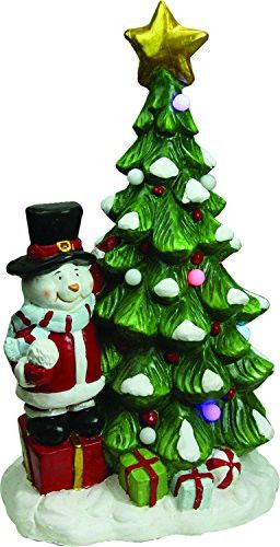 Felices Pascuas Collection 23 inch Christmas Morning Pre-Lit LED Tree with Santa Snowman Musical Christmas Tabletop Decoration