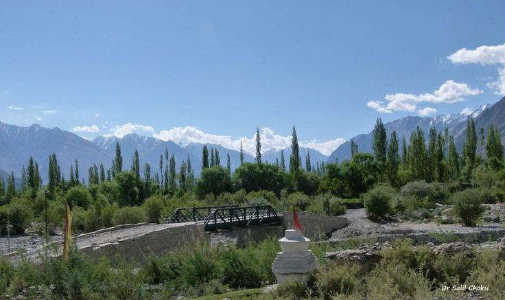 Picturesque Shyok valley near Buddhist Hunder village. Tall majestic Poplar trees, amidst the Willow trees n a Buddhist chorten in the foreground. Chortens are memorials built to honour Bodhi-satvas (who are Buddha-in-waiting, not wanting to evolve into Buddhahood, till all humanity has been freed from sufferring.