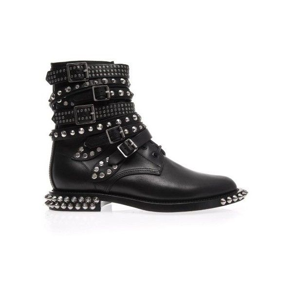 Saint Laurent Rangers studded punk leather boots ($2,420) ❤ liked on Polyvore featuring shoes, boots, black, studded boots, studded moto boots, moto boots, black engineer boots ve black leather boots