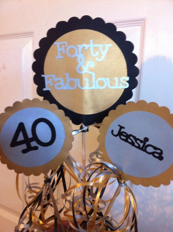 40th Birthday Decorations 3 piece Centerpiece Sign by FromBeths