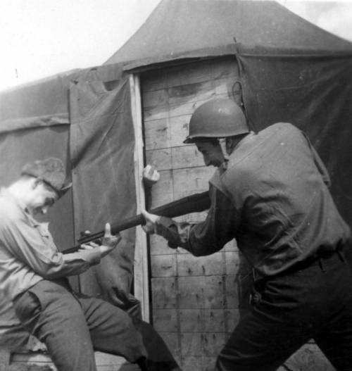 Martin Bolhower practicing with bayonet. http://digitallibrary.usc.edu/cdm/ref/collection/p15799coll48/id/4319