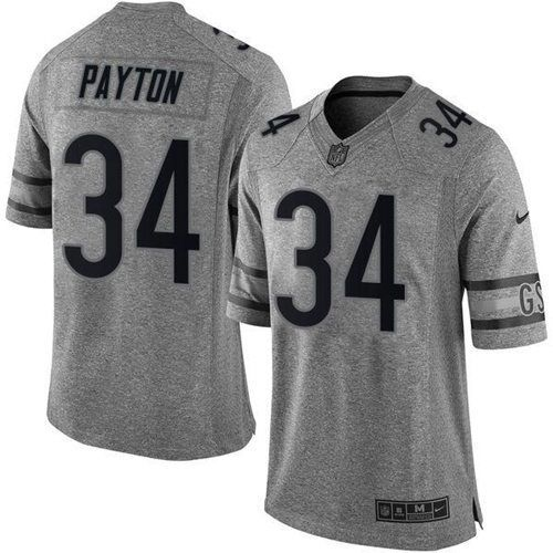 nike chicago bears 34 walter payton gray mens stitched nfl limited gridiron gray jersey nfl jerseys and related pinterest walter payton and nfl