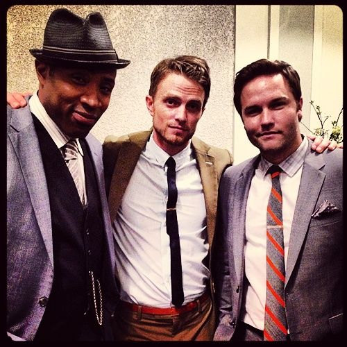 Cress Williams (Lavon), Wilson Bethel (Wade) and Scott Porter (George) on the set of Hart of Dixie.