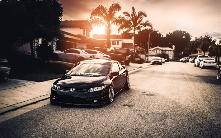 Download Wallpapers 4k Honda Civic Tuning Posture Street