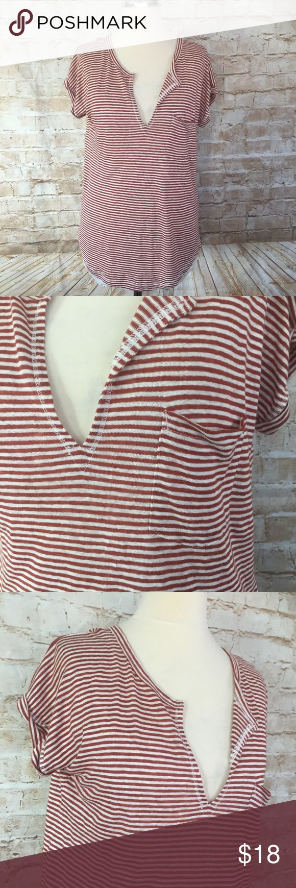 Madewell XS Linen Red White Stripe Shirt Top Madewell XS Linen Red White Stripe Shirt Top  Condition: No flaws  Color: red and white stripe  Pullover  100% Linen  Shirt hem Hand wash Measurements:  18 inches across bust  22-24 inches length from under arm to hem   /344/ Madewell Tops Blouses