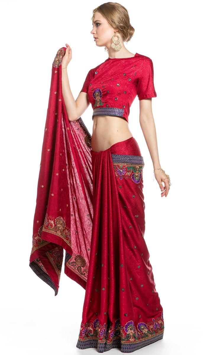 Индийское сари, одежда Востока, красное сари из Индии, Indian sari, saree, red sari from India.