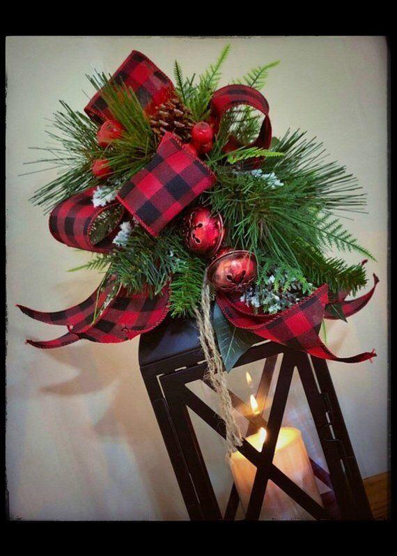 Christmas Lantern Swag Buffalo Plaid Holiday Decor Buffalo