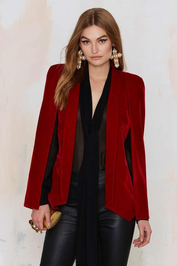 Nasty Gal Champagne Taste Cape Blazer - Red Velvet - Clothes | Dark Romance | Dark Romance | Blazers | Jackets + Coats