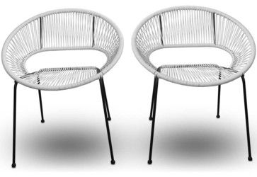 Acapulco 2 Piece Outdoor Patio Dining Chairs, White Lightning - modern - Outdoor Stools And Benches - PatioProductions     $499 for 2