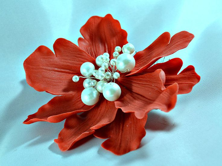 Red bridal hair flower, Christmas wedding statement headpiece ~ Large red flower fascinator, peony comb with pearls handcrafted hair flower - pinned by pin4etsy.com