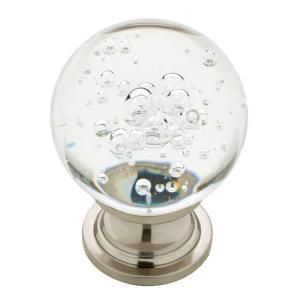 satin nickel with clear bubble glass cabinet knob glass