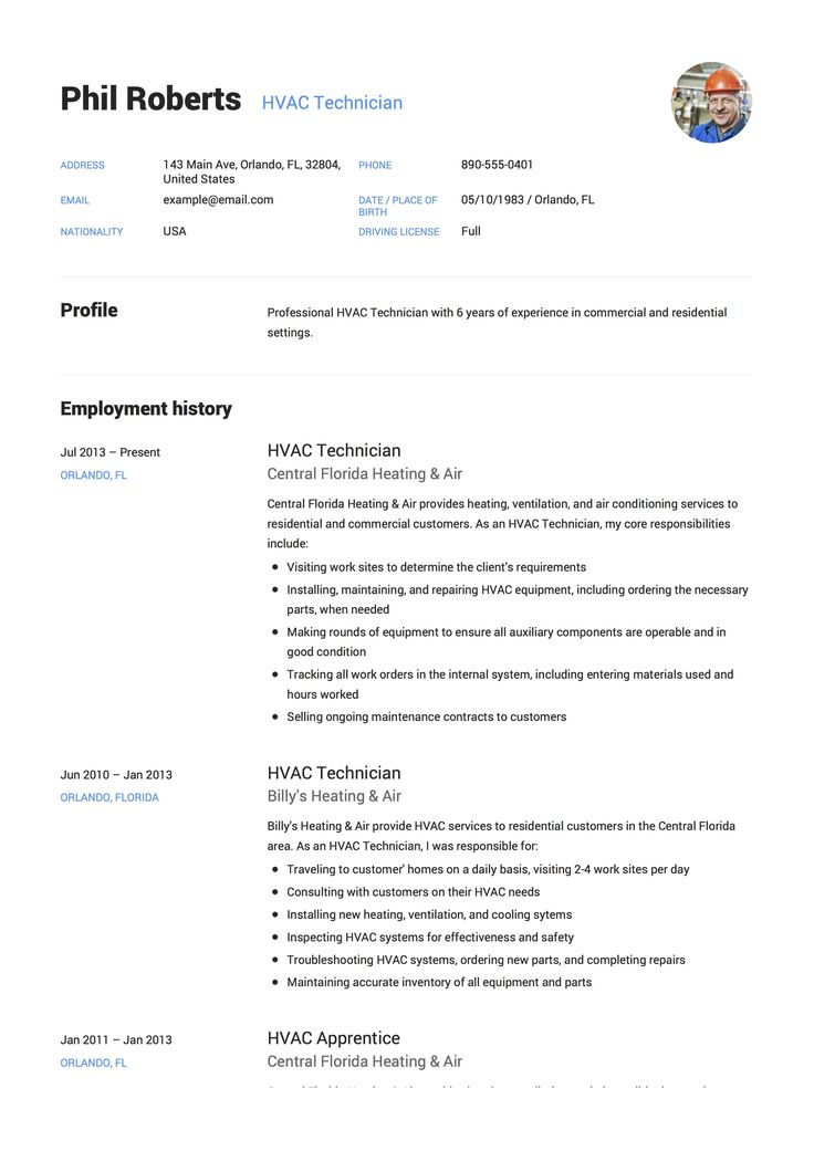HVAC Technician Resume & Guide Hvac technician, Job