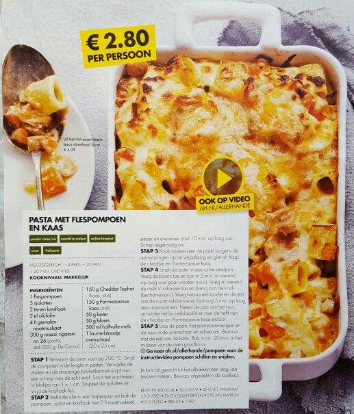 Pasta met flespompoen en kaas