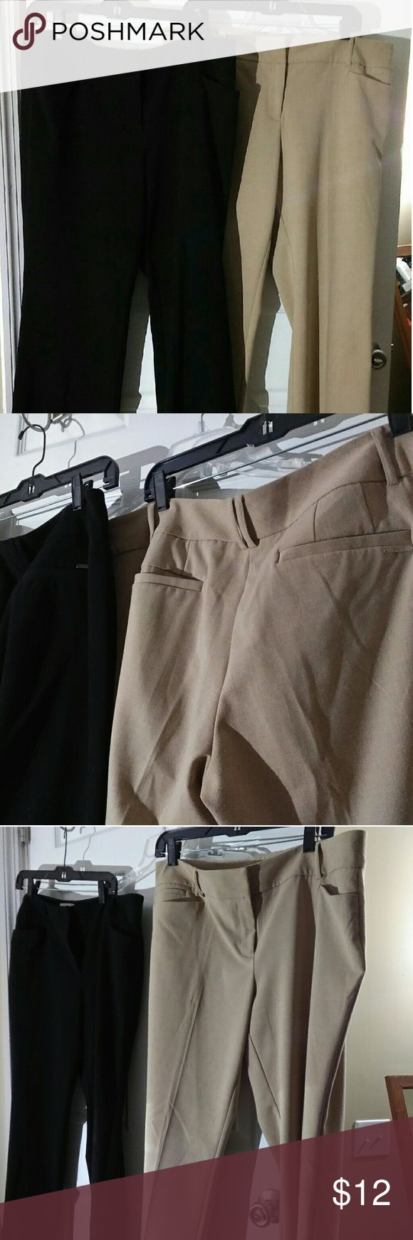 Nice NY & Co. Size 16 Petite work pants! I have several of these so I'm basically selling them all for cheap! I have at least 8 more pair of Size 16 Petite and some 14 Petite and maybe some 12s. I love all NY&CO. dress pants for work.  They are so comfy and flattering! These two pair are Poly/Rayon/Spandex.  The tan pair feels a bit lighter and is 72% Poly, 23% Rayon & 5% Spandex. The black pair is 64% Poly, 32% Rayon & 4% Spandex.  Great shape, very unnoticable when wearing slight piling in…