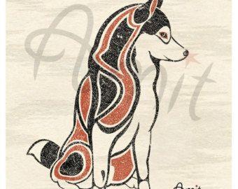 OOAK Beaded Siberian Husky Pin Handmade by CreationsbyWhiteWolf